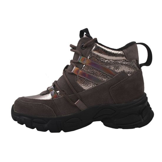 Кросівки жіночі з натуральної замші, на платформі, на шурує, Визон Gifanni