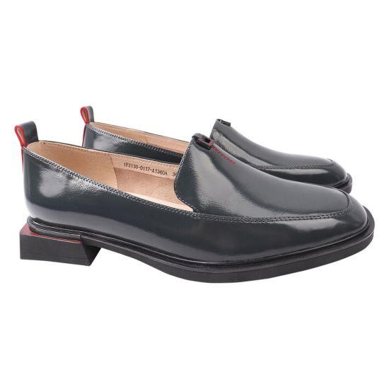 Туфлі жіночі з натуральної шкіри, на низькому ходу, сірі, Molka
