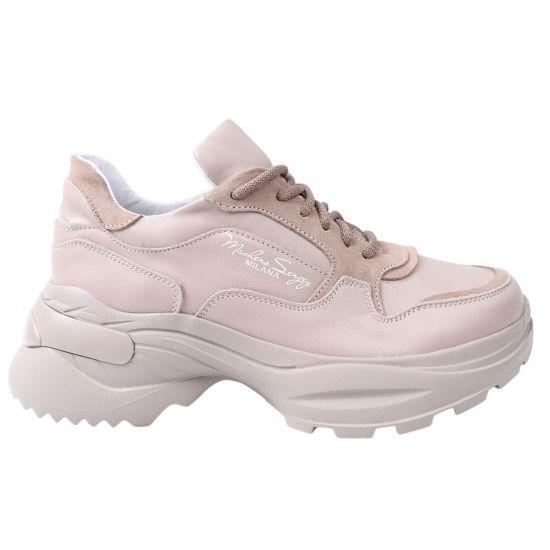 Кросівки жіночі з натуральної шкіри, на низькому ходу, на шнурівці, колір капучино, Masheros