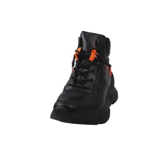 Кросівки жіночі з натуральної шкіри, на платформі, на шнурівці, чорні Gifanni