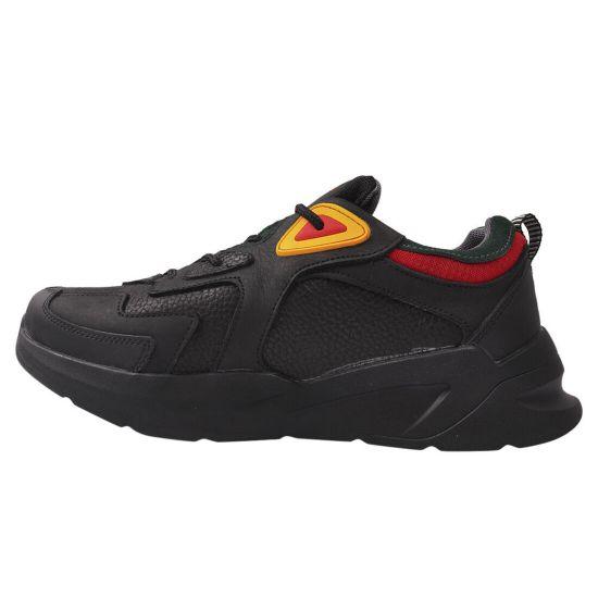 Кросівки чоловічі з натуральної шкіри, на платформі, на шнурівці, чорні, Україна MDK