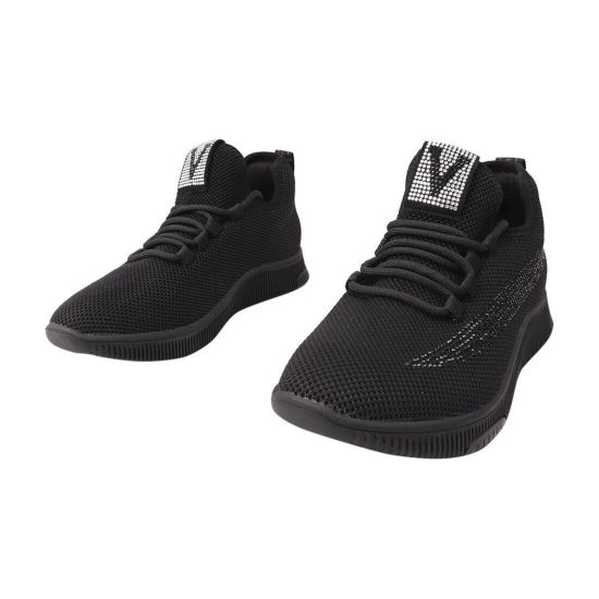 Кросівки жіночі з текстилю, на низькому ходу, чорні, Gelsomino