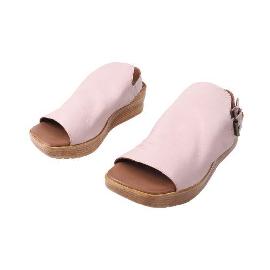 Босоніжки жіночі з натуральної шкіри, на платформі, з відкритою п'ятою, колір рожевий, Bueno