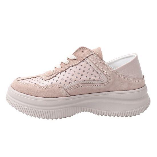 Кросівки жіночі з натуральної замші, на низькому ходу, на шнурівці, колір капучино, Best Vak