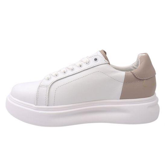 Кеди жіночі з натуральної шкіри, на низькому ходу, на шнурівці, колір білий, Best Vak