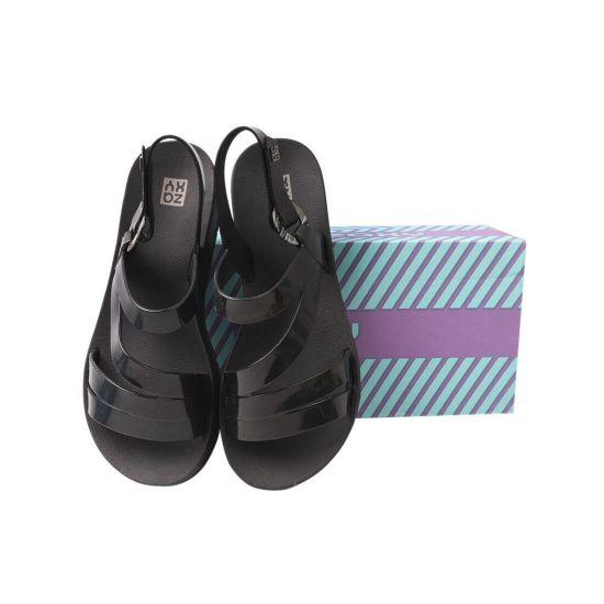 Босоніжки жіночі з гуми, на низькому ходу, з відкритою п'ятою, колір чорний, Бразилія Grendene