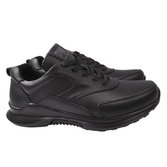Кросівки чоловічі з натуральної шкіри, на низькому ходу, на шнурівці, колір чорний, Україна Golovin