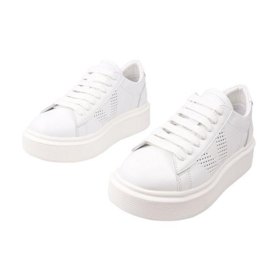 Кеди жіночі з натуральної шкіри, на низькому ходу, на шнурівці, колір білий, Kento