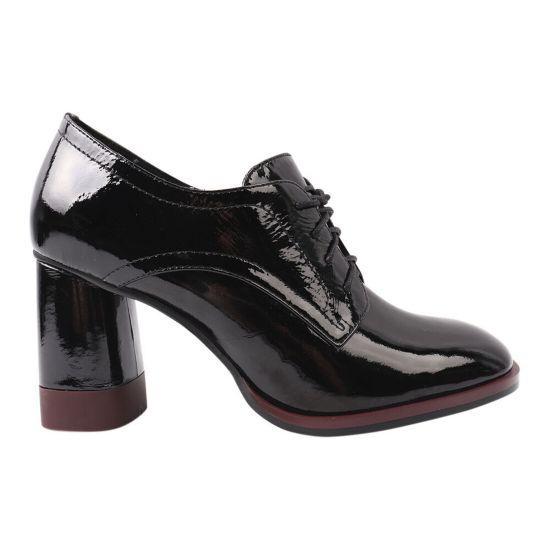 Туфлі жіночі з натуральної лакової шкіри, на великому каблуці, чорні, Brocoly