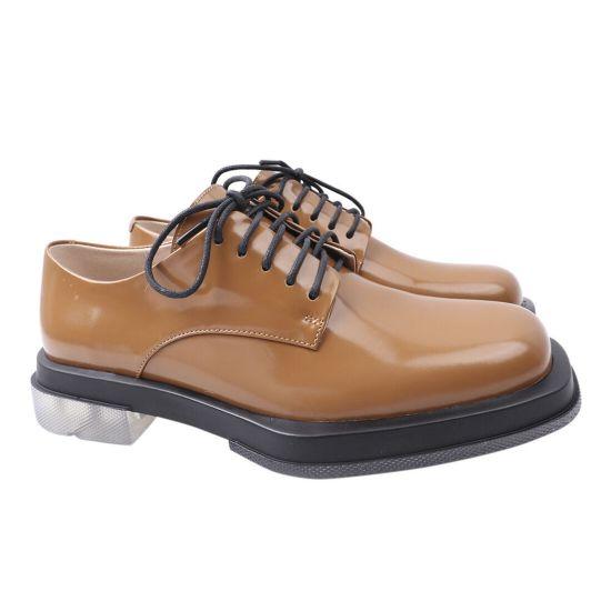 Туфлі жіночі з натуральної шкіри, на низькому ходу, коричневі, Brocoly
