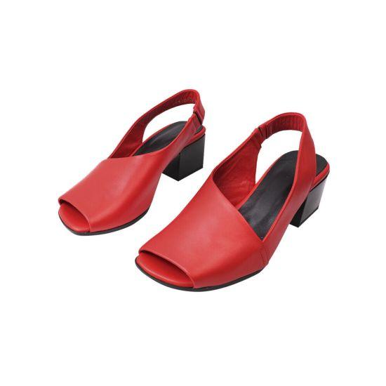 Босоніжки жіночі з натуральної шкіри, на великому каблуці, з відкритою п'ятою, червоний, Molly Bessa