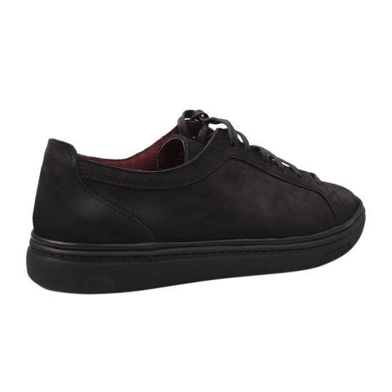 Кеди чоловічі з натуральної шкіри (нубук), на низькому ходу, на шнурівці, колір чорний,  Vadrus