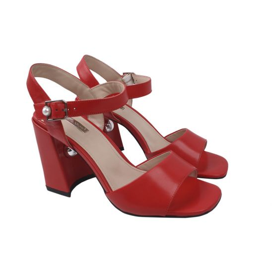 Босоніжки на каблуці жіночі натуральна шкіра, колір червоний