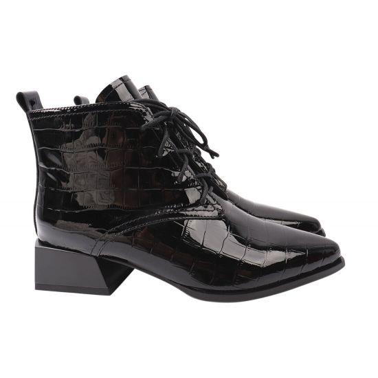 Ботильйони жіночі з натуральної лакової шкіри, на великому каблуці, на шнурівці, чорні, Angelo Vani