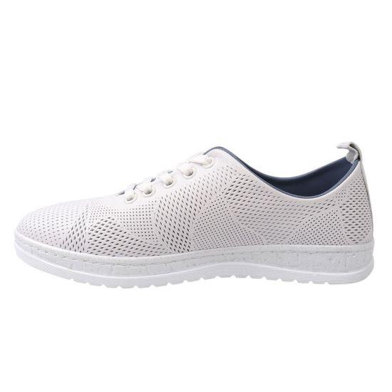 Кеди жіночі з натуральної шкіри, на низькому ходу, на шнурівці, колір білий, Trio Trend