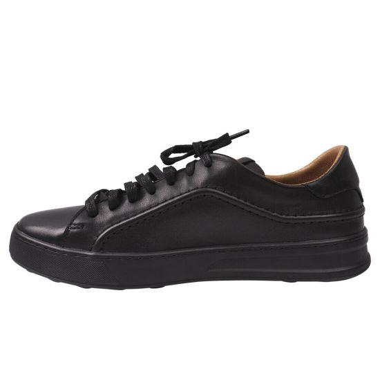 Кеди чоловічі з натуральної шкіри, на низькому ходу, на шнурівці, колір чорний, Vadrus