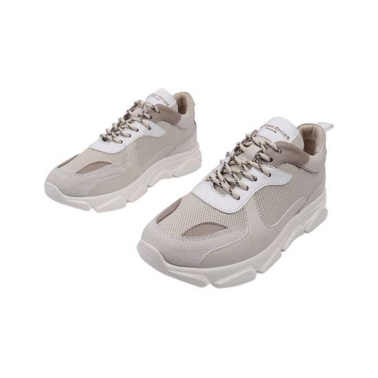 Кросівки жіночі з натуральної шкіри, на низькому ходу, на шнурівці, колір бежевий, Туреччина Alpino