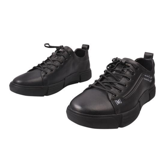 Кеди чоловічі з натуральної шкіри, на низькому ходу, на шнурівці, чорні, Arees 74-21DTC