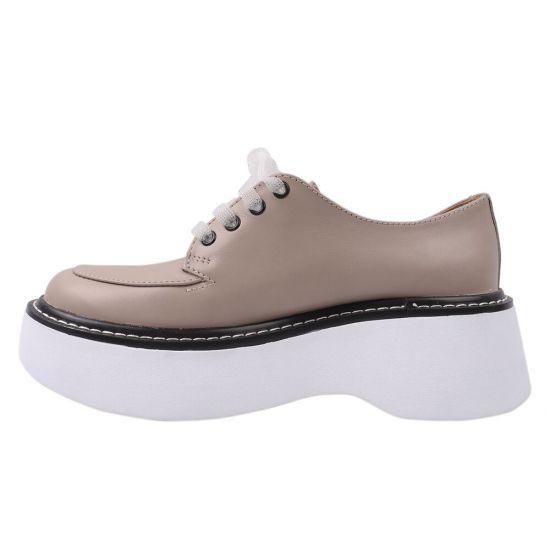 Туфлі жіночі з натуральної шкіри, на платформі, на шнурівці, колір капучино, Україна Vadrus