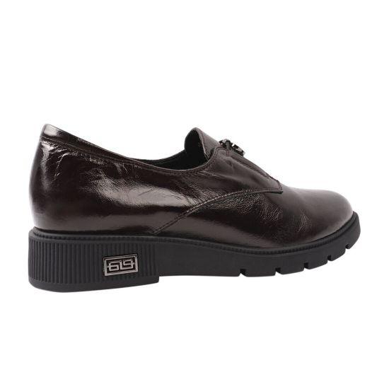 Туфлі жіночі з натуральної шкіри, на низькому ходу, бордові, Polann