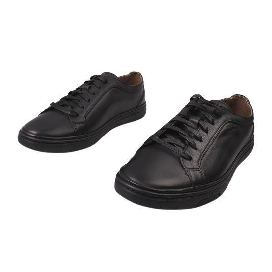 Кеди чоловічі з натуральної шкіри, на низькому ходу, на шнурівці, колір чорний, Україна Vadrus 317-21DTC