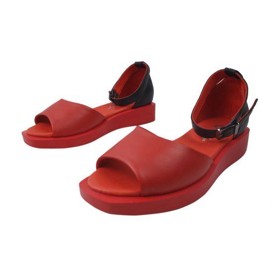 Босоніжки на низькому ходу жіночі Magnolya Натуральна замша, колір червоний