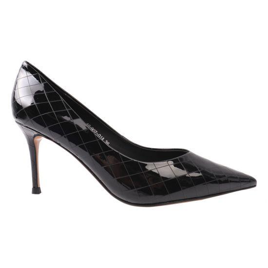 Туфлі жіночі з натуральної лакової шкіри, на шпильці, чорні, Djovannia