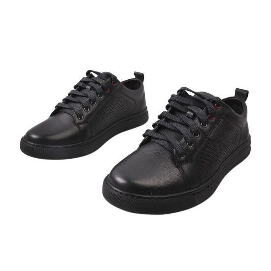 Кеди чоловічі з натуральної шкіри, на низькому ходу, на шнурівці, колір чорний, Україна Detta 59-21LTCP