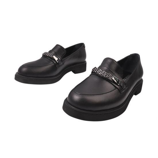 Туфлі жіночі з натуральної шкіри, на низькому ходу, чорні, Туреччина Euromoda