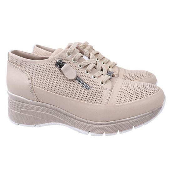 Кросівки жіночі з натуральної шкіри, на низькому ходу, на шнурівці, колір бежевий, Mumin Dulun