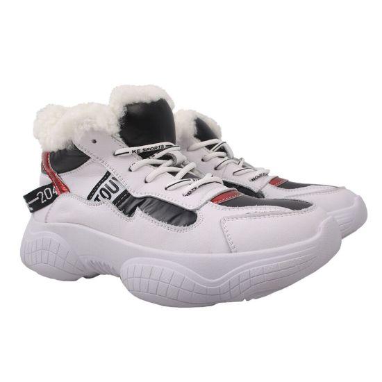 Кросівки жіночі з натуральної шкіри, на шнурівці, на платформі, білі, Li Fexpert