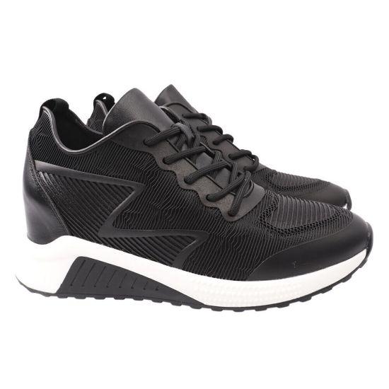 Кросівки жіночі з натуральної шкіри, на платформі, на шнурівці, чорні, Arees