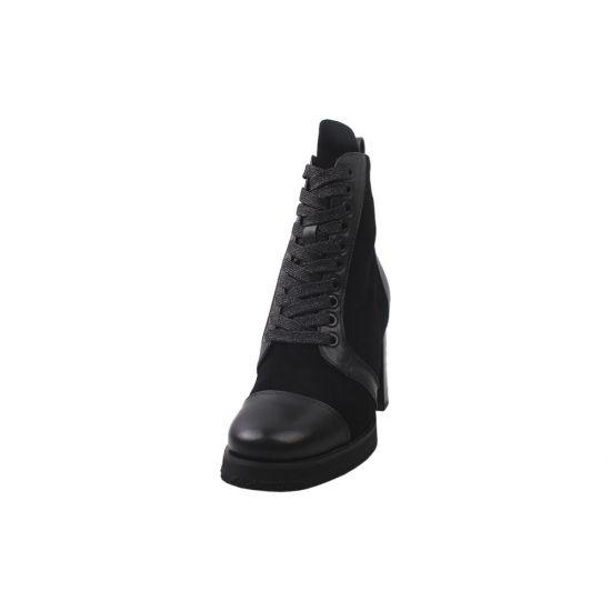 Ботильйони жіночі з натуральної замші, на шнурівці, на великому каблуці, чорні, Big Rope 9-9ZH