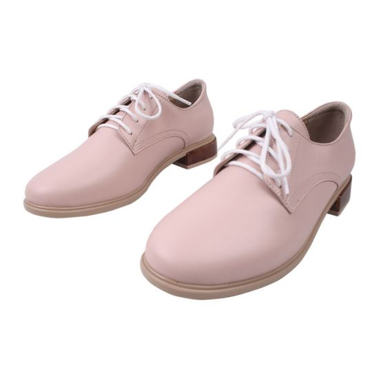 Туфлі на шнурівці жіночі Aquamarin натуральна шкіра, колір рожевий