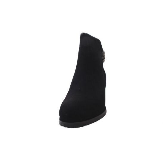 Ботильйони жіночі з натуральної замші, на низькому каблуці, чорні, Velly 119-9ZH