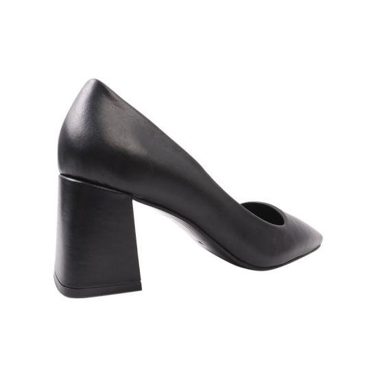 Туфлі жіночі з натуральної шкіри, на великому каблуці, чорні, DaCota