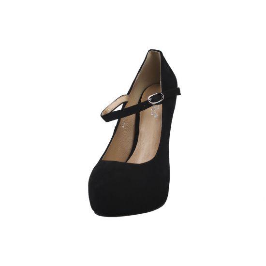 Туфлі жіночі з натуральної замші, на шпильці, чорні, Erisses