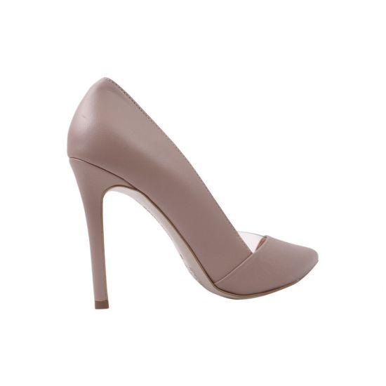 Туфлі жіночі на шпильці з натуральної шкіри, капучино, Bravo Moda