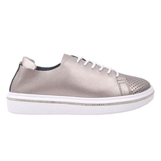 Туфлі жіночі натуральна шкіра, колір платина