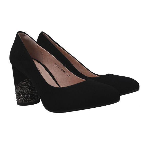 Туфлі жіночі з натуральної замші, на великому каблуці, чорні, Erisses