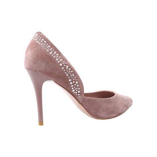 Туфлі жіночі з натуральної замші, на шпильці, рожеві, Molka