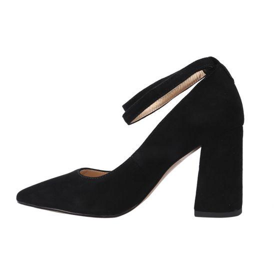 Туфлі жіночі з натуральної замші, на великому каблуці, чорні, Angelo Vani