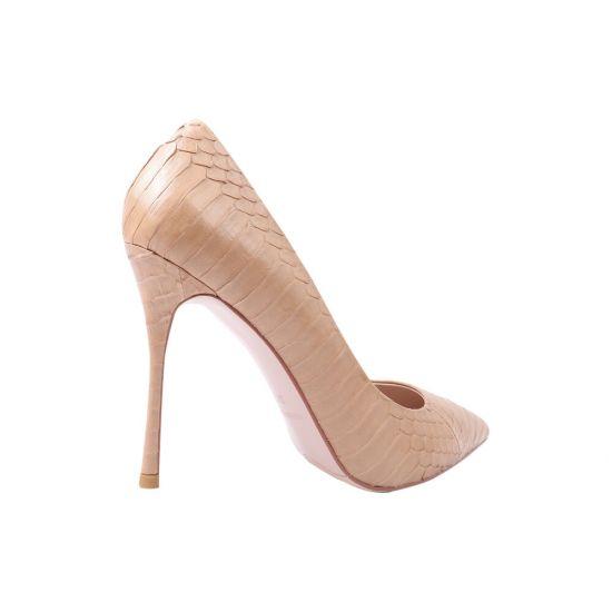 Туфлі жіночі з натуральної шкіри, на шпильці, бежеві, Anemone