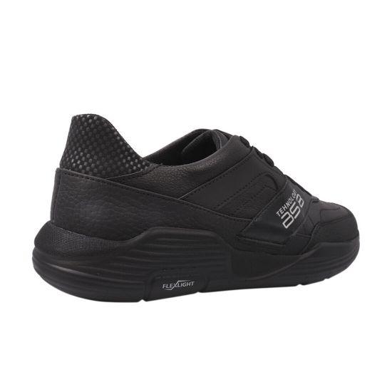 Кросівки чоловічі з натуральної шкіри, на низькому ходу, на шнурівці, колір чорний, Україна Brave