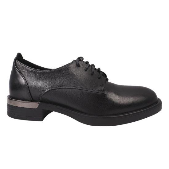 Туфлі жіночі з натуральної шкіри, на низькому ходу, на шнурівці, чорні, Farinni