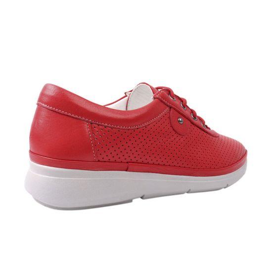 Кеди жіночі з натуральної шкіри, на низькому ходу, на шнурівці, колір червоний, Туреччина Trio Trend