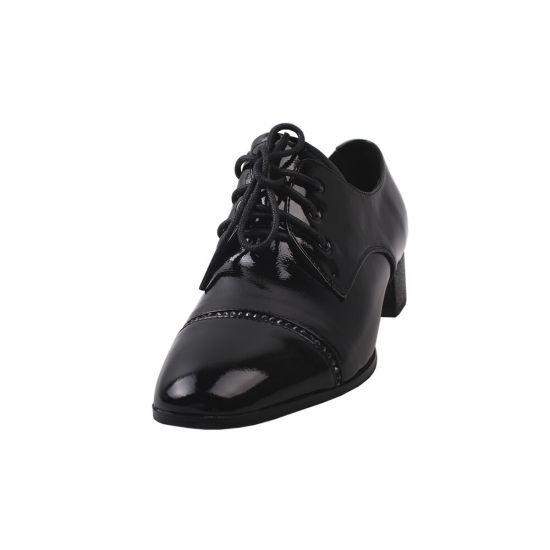 Туфлі комфорт жіночі Geronea Лакова натуральна шкіра, колір чорний