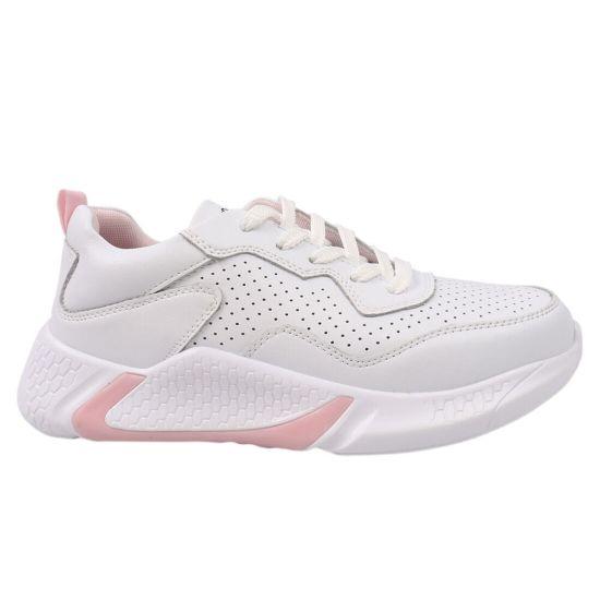Кросівки жіночі з натуральної шкіри, на низькому ходу, на шнурівці, білі, Li Fexpert