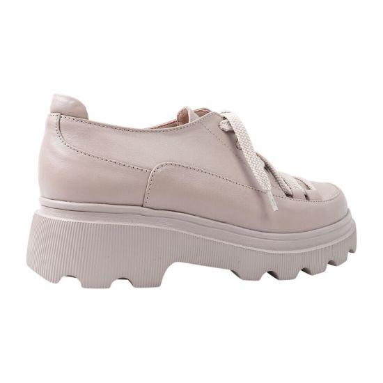 Туфлі жіночі з натуральної шкіри, на платформі, на шнурівці, капучино, Україна Marko Rossi