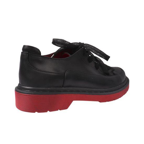 Туфлі жіночі з натуральної шкіри, на низькому ходу, на шнурівці, колір чорний, Marko Rossi